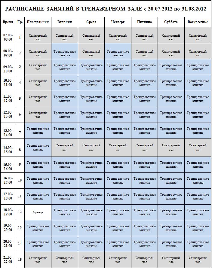 Занятия спортом в домашних условиях график занятий 878